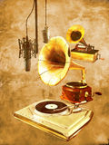 Voice and sound story. Old gramophone, old phonograph and microphone, and modern turntable and microphone, representing various steps in sound recording and Stock Images