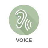 Voiceover- eller stämmakommandosymbol med bilder för solid våg royaltyfri illustrationer