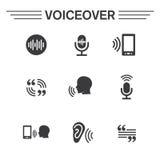 Voiceover- eller stämmakommandosymbol med bilder för solid våg Arkivfoton