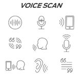 Voiceover or Voice Command Icon with Sound Wave Images. Set Royalty Free Stock Images