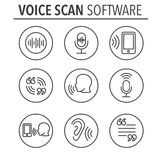 Voiceover or Voice Command Icon with Sound Wave Images Royalty Free Stock Image