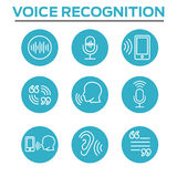 Voiceover or Voice Command Icon with Sound Wave Images Stock Photo