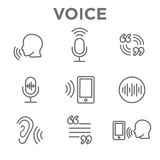 Voiceover or Voice Command Icon with Sound Wave Images Royalty Free Stock Photo