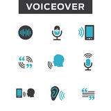 Voiceover or Voice Command Icon with Sound Wave Images. Set - solid Stock Images