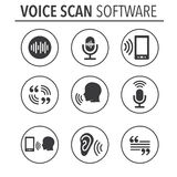 Voiceover or Voice Command Icon with Sound Wave Images. Set - solid Stock Image