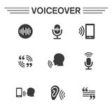 Voiceover or Voice Command Icon with Sound Wave Images Stock Photos