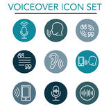 Voiceover or Voice Command Icon with Sound Wave Images. Voiceover or Voice Command Icon w Sound Wave Images Set Stock Photo