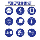 Voiceover or Voice Command Icon w Sound Wave Images. Voiceover or Voice Command Icon with Sound Wave Images Set - solid Royalty Free Stock Photos