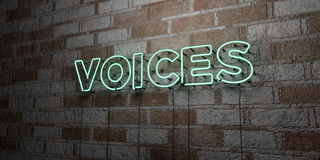 VOICES - Glowing Neon Sign on stonework wall - 3D rendered royalty free stock illustration Royalty Free Stock Image