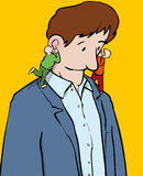 Voices. Man hearing voices in each ear stock illustration