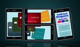 Voici une image au sujet des applis de téléphone portable qui vous aident à contrôler et maintenir la dépense de cartes de crédit illustration stock