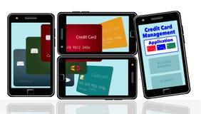 Voici une image au sujet des applis de téléphone portable qui vous aident à contrôler et maintenir la dépense de cartes de crédit illustration de vecteur