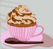 Voici une tasse délicieuse et délicieuse de petit gâteau illustration stock