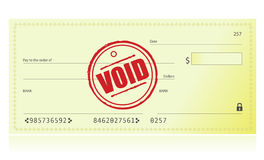 Void Bank Check. Illustration isolated over a white background Royalty Free Stock Photography