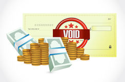 Void bank check and money illustration Royalty Free Stock Images