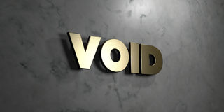 Void - Gold sign mounted on glossy marble wall - 3D rendered royalty free stock illustration. This image can be used for an online website banner ad or a print stock illustration