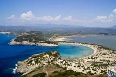 Voidokilia, Pylos美丽的海滩  免版税库存图片
