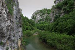 Voidomatis river from bridge of Kokkoros or Noutsos, Ioannina, Epirus, Greece. Voidomatis is a river in the Ioannina regional unit in northwestern Greece, and is royalty free stock images