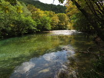 Voidomatis river in zagorohoria. Voidomatis Greek: Βοϊδομάτης is a river in the Ioannina regional unit in northwestern Greece, and is a tributary of Royalty Free Stock Photos