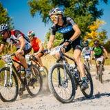 Voie d'équitation de cycliste de vélo de montagne au jour ensoleillé Photo libre de droits