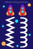 Voie d'aspiration de deux fusées, de feuille de pratique en matière d'écriture pour les deux mains, d'activité d'enfants, de jeu  illustration libre de droits