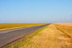 Voie dans les domaines, Samara de route (Russie) - Uralsk (   Kazakhstan) photographie stock libre de droits