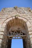 Voie de base de centre urbain, château de Methoni photographie stock libre de droits