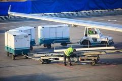 Voie de chargement de bagage à l'aéroport de Domodedovo à Moscou Photo stock