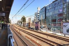 Voie de chemin de fer à la station de Harajuku Images stock