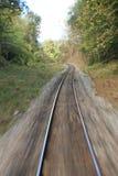 Voie de chemin de fer brouillée Photographie stock libre de droits