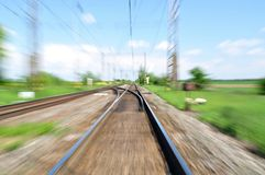 Voie de chemin de fer brouillée Photographie stock