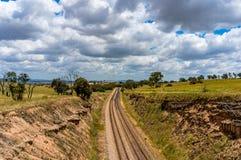 Voie de chemin de fer dans l'Australie d'intérieur images libres de droits