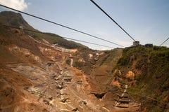 Voie de corde sous les sources thermales à Hakone Photos libres de droits