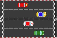 Voie de course, entraînement de voitures de sport sur la voie de course illustration de vecteur