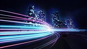 Voie de course grande de ville avec la fusée colorée de mouvement Image libre de droits