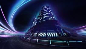 Voie de course grande de ville avec la fusée légère colorée Images libres de droits