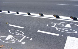 Voie de cycle à Barcelone Photo libre de droits
