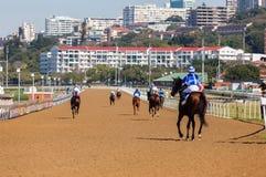 Voie de jockeys de chevaux de course Images libres de droits
