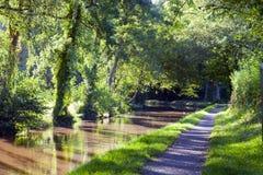 Voie de région boisée le long de canal anglais le jour chaud d'été Image libre de droits
