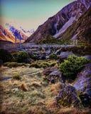 Voie de rivière de talonneur, Aoraki, île du sud, Nouvelle-Zélande Images stock