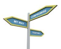 Voie différente ou compromission Image stock