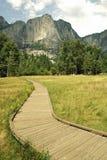 Voie en bois dans Yosemite Photos stock