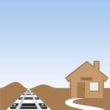 Voie et station de train de ciel bleu Image libre de droits