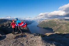 Voie Preikestolen, Norvège Image stock