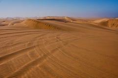 Voies de buggy des sables en dunes de sable du désert de Kalahari Photographie stock