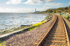 Voies de chemin de fer chez Culross Ecosse Photos stock
