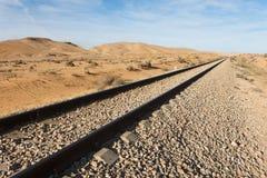 Voies de chemin de fer droites dans le désert Images libres de droits