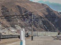 Voies de chemin de fer dans le complexe de mine Photographie stock