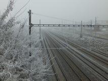 Voies de chemin de fer disparaissant en brouillard un matin hivernal gris image stock