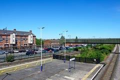 Voies de chemin de fer et entrepôt de grain, Burton sur Trent images stock